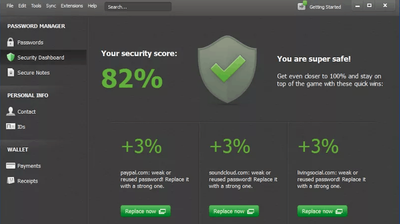 interfaccia di sicurezza dashlane