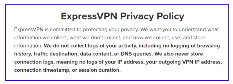 politique de confidentialité express vpn