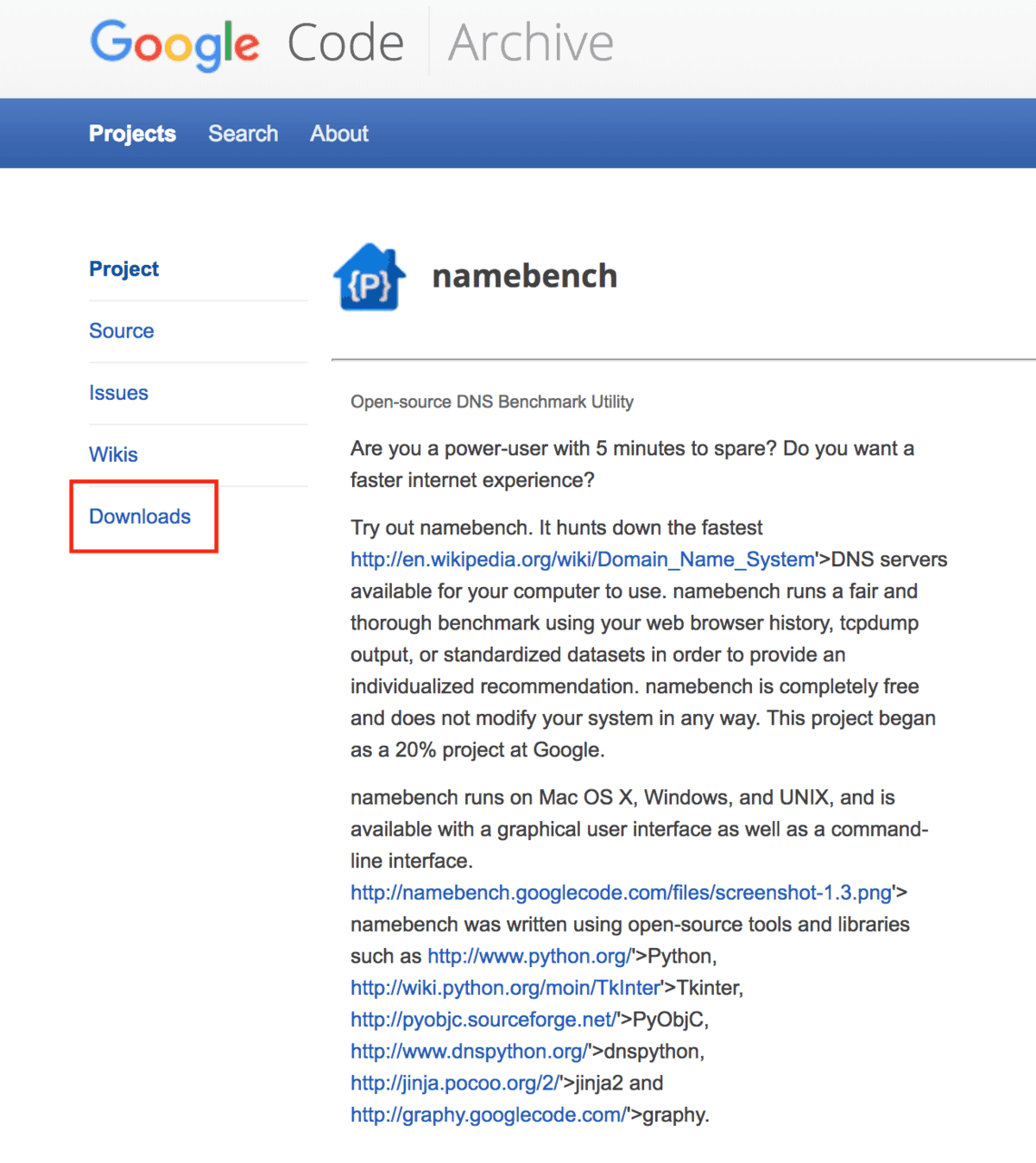 Google Namebench загрузки
