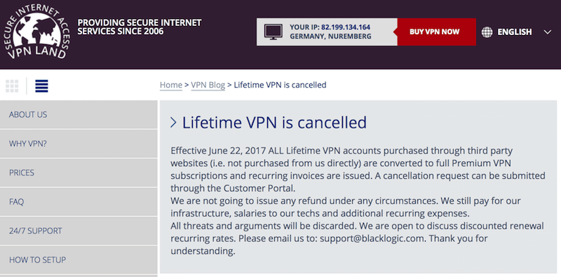 VPN Lifetime Abonnement Scam